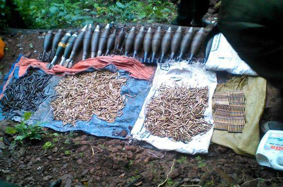 Bullets and shells seized by Tatmadaw from KKO in Kawkareik Township.