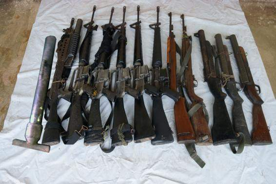 Weapons seized by Tatmadaw from Karen Klo-Htoo-Baw  Organisation (KKO) on 23 and 24 July.