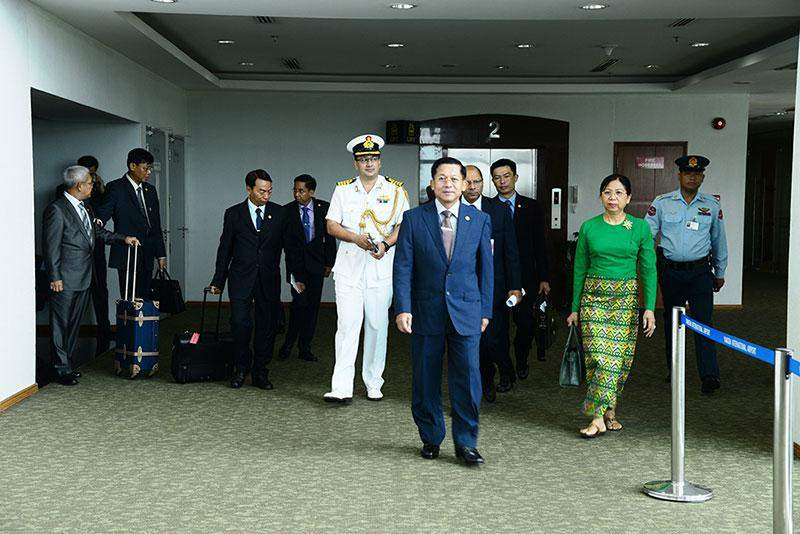 Senior General Min Aung Hlaing and party seen at Yangon International Airport before departure for India.