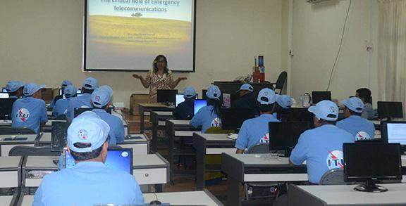 Ms Gisa Fuataipurcell, head of emergency telecommunication division, gives lectures to trainees.