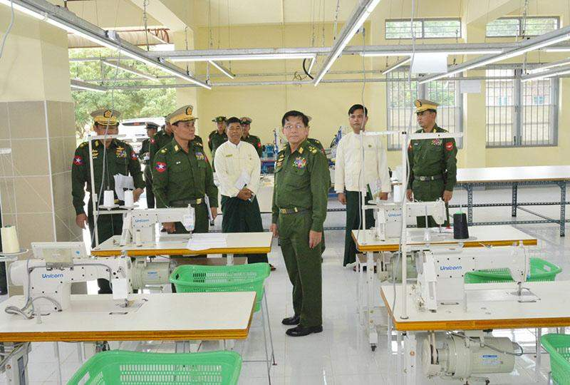 Senior General Min Aung Hlaing inspects Defence Services Garment Factory in  PyinOoLwin.