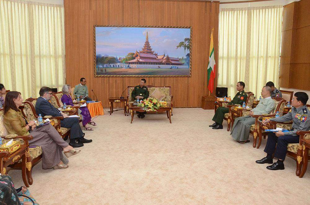 Union Minister for Home Affairs Lt-Gen Ko Ko holds talks with UNFPA Resident Representative Janet E. Jackson.—MNA