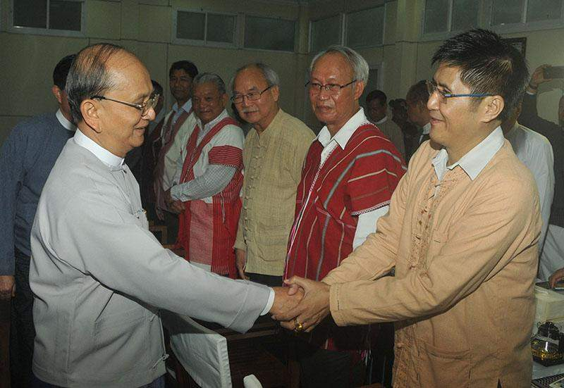 President U Thein Sein cordially greets leaders of armed ethnic groups.—MNA