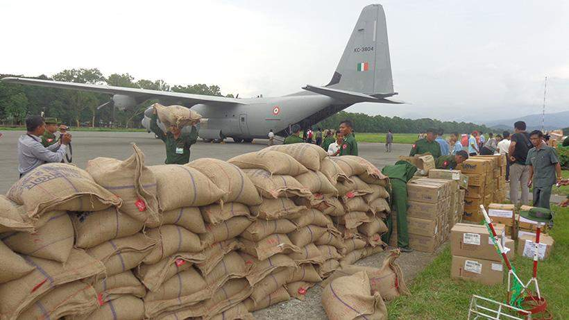 Third batch of aid from India arrives in Kalay, Sagaing Regiom, which was severely hit by the flooding.