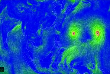 Typhoons moving across Pacific