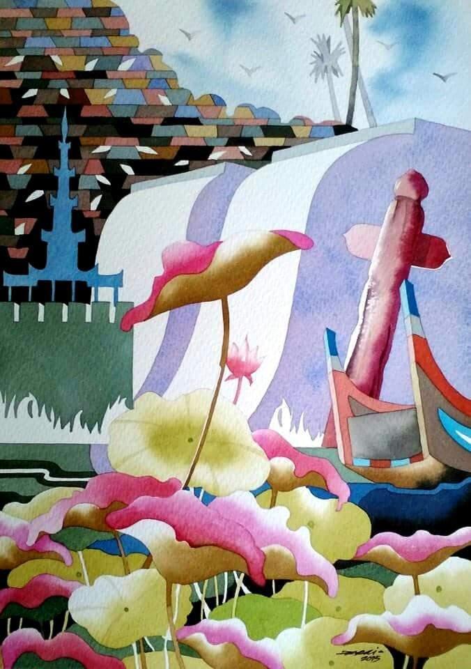 Artwork by Ni Po Oo will be showcased at fund raising event for flood victims at River Ayeyawady Gallery.—Photo: Ko Latt