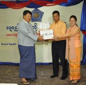 """Donations for Luyichuan (""""outstanding student"""") Free Clinic in New Hlaingthaya Township, Yangon. Photo: KBZ"""