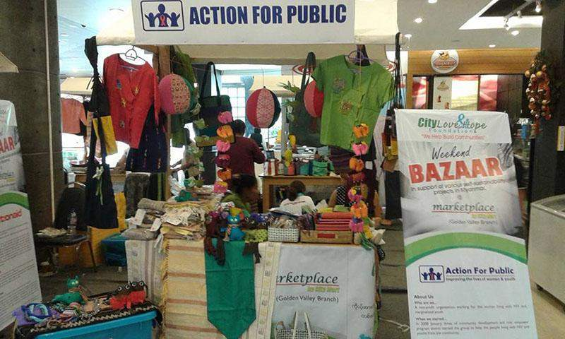 Handicrafts made by women with HIV displayed on sale at marketplace by City Mart. Photo: AFP