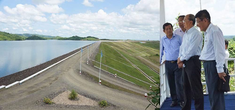 President U Thein Sein inspects Kanyin Dam during his tour of Ayeyawady Region. Photo: MNA