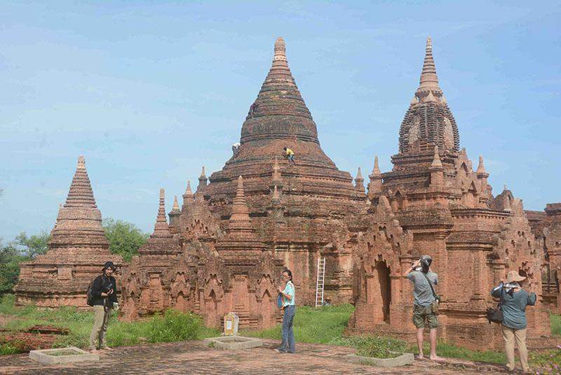 Workshop participants are pictured exploring the ancient city of Bagan on Tuesday.