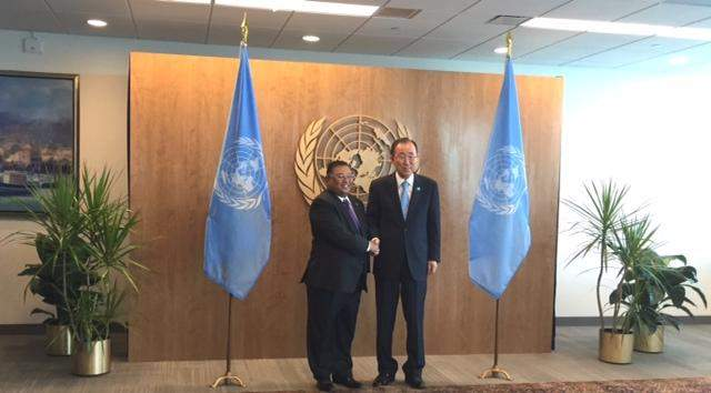 Union Minister for Foreign Affairs U Wunna Maung Lwin and  UN Secretary General Mr Ban Ki-moon.