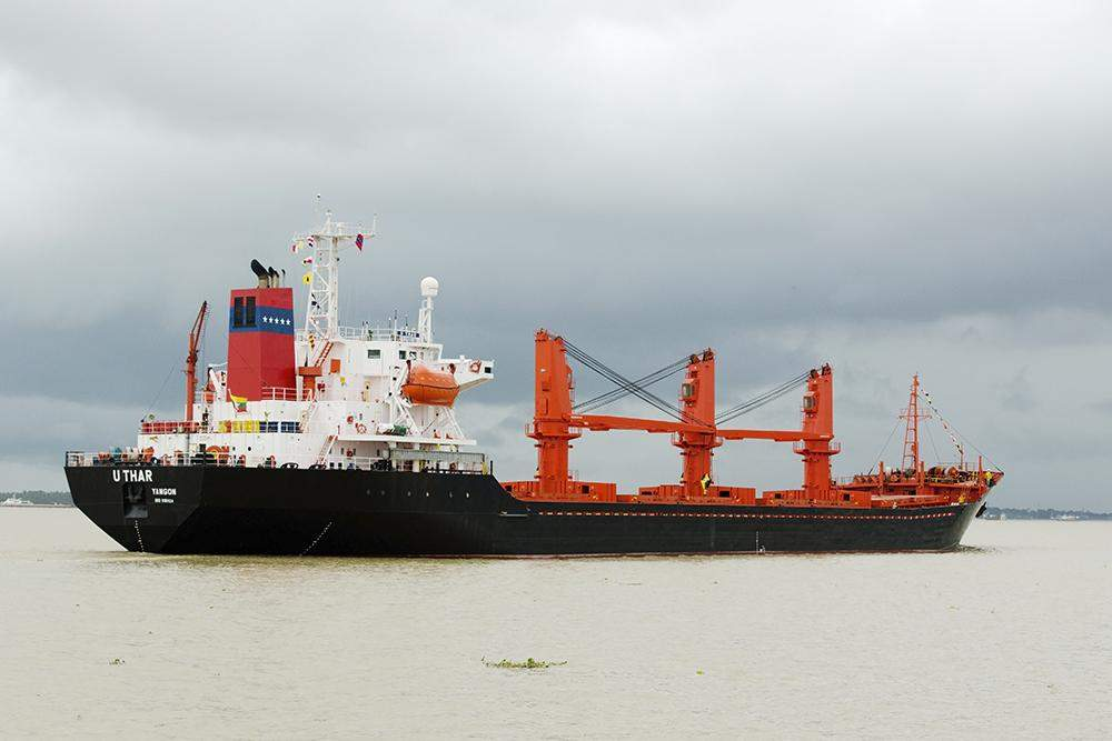 The U Tha vessel just before her maiden voyage. Photo supplied by Myanma Five Stars Line.