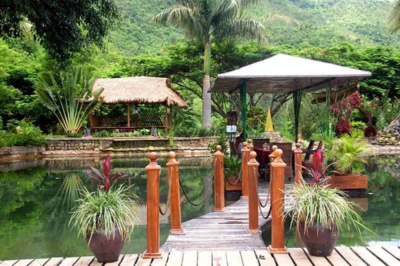 The lower decking of Myanmar Vineyard's Sunset Garden Resestaurant in Shan State.