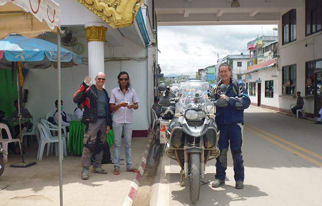 Tourists of motorcycle convoy seen at Myawady border gate.