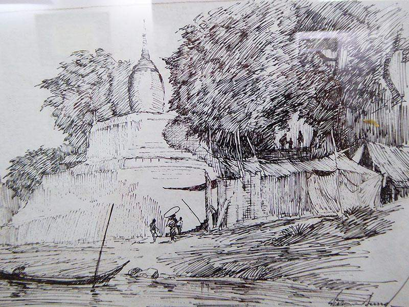 Works by Artist Hla Thein Aung on display at The River Ayeyawady Gallery. Photo: Khaing Thanda Lwin
