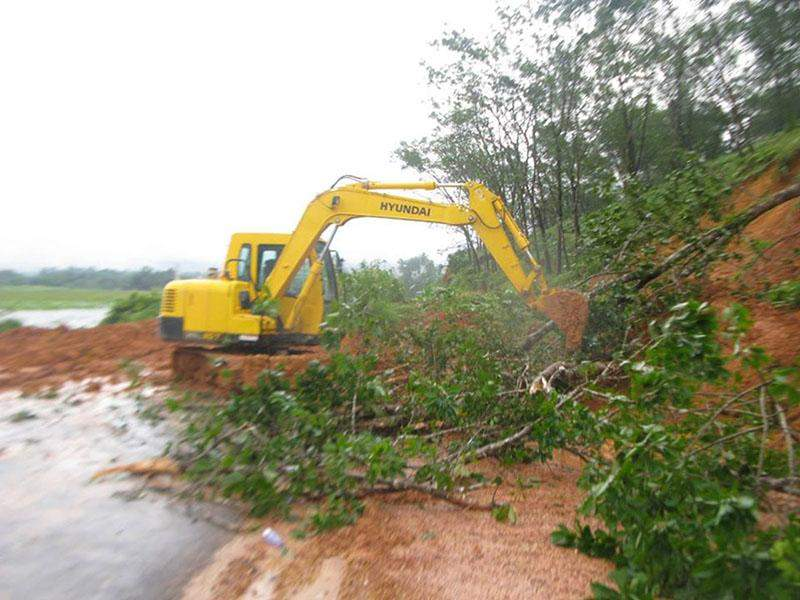 A heavy machine remove fallen rubber plants from the road.—Palaw IPRD