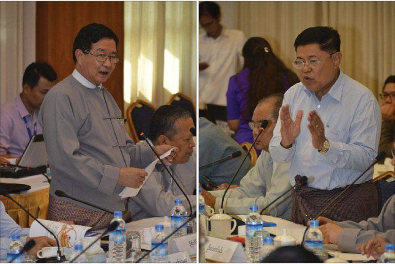 Pictured left is U Aung Min, Vice-Chairman of the Union Peace-making Work Committee, and right is U Soe Thane, Union Minister at the President Office, talk to civil society organizations. Photo: MNA