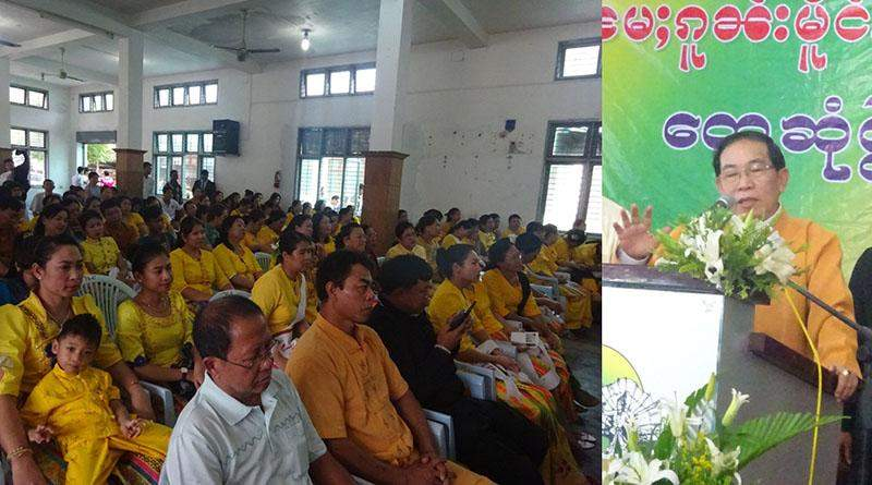 Chairman of Restoration Council of Shan State Army-South U Yawd Serk explains ceasefire agreement to Shan nationals in Mandalay. Photo: Maung Pyithu