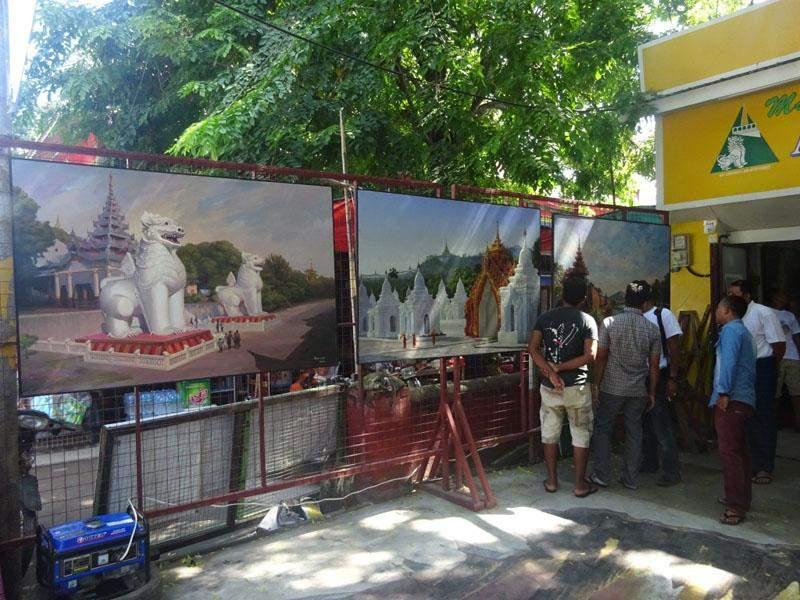 Visitors viewing round 14th anniversary exhibition of Mandalay Hill Art Gallery. Photo: Thiha Ko Ko