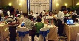 visitors in Mandalay view products from Taipei at exhibition. Photo: Thiha Ko Ko