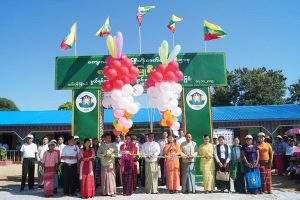 Officials formally open renovated school building in Tatkon. Photo: Tin Soe Lwin