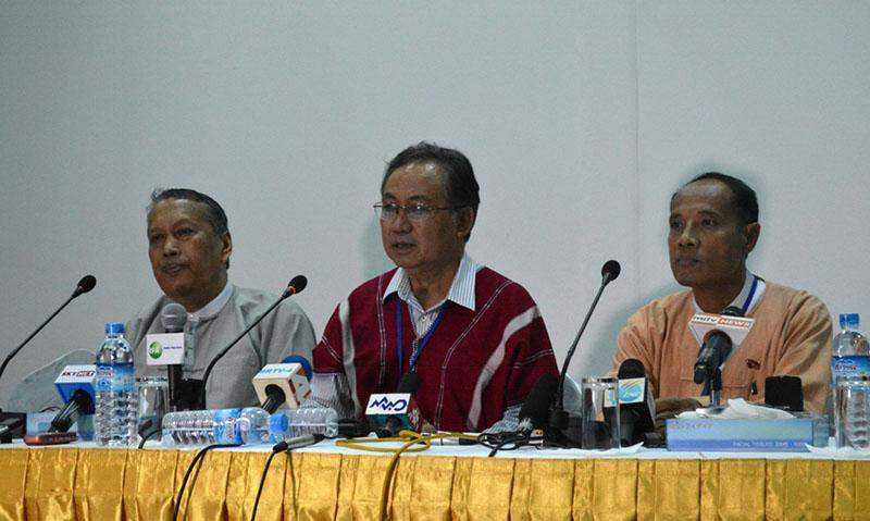 U Hla Maung Shwe (far left), P'doh Saw Kwe Htoo Win (middle) and U Myo Win answer queries raised by reporters at a press conference in Yangon. Photo: Ye Myint