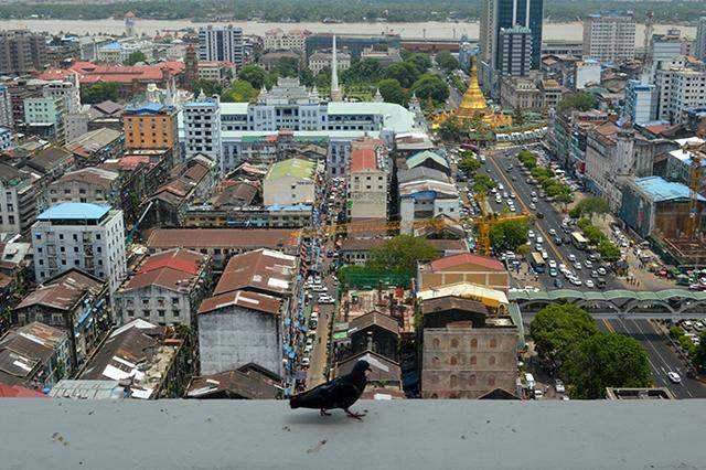Bird's eye view of downtown Yangon, the country's commercial capital. Analysts say sluggish property market remains muted, but hope that it will rebound after the upcoming elections.