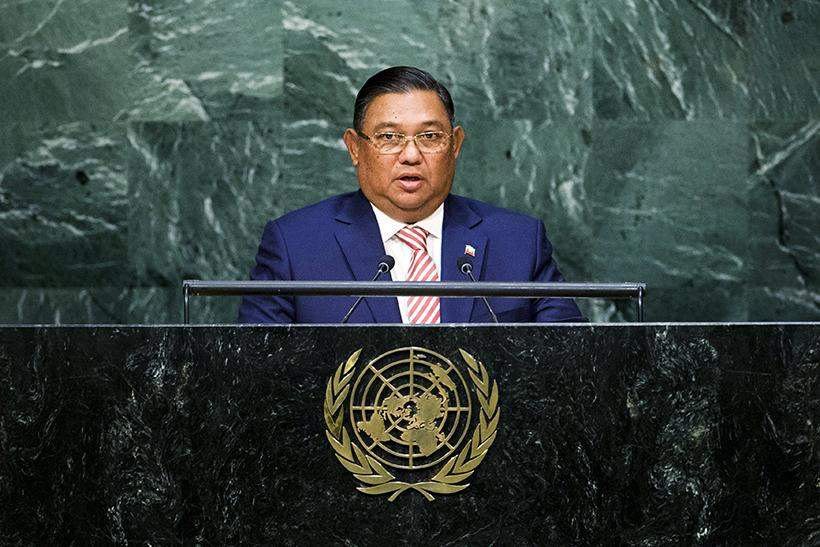 Myanmar's Foreign Minister  U Wunna Maung Lwin addresses attendees during the 70th session of the United Nations General Assembly at the UN Headquarters 2 October 2015.