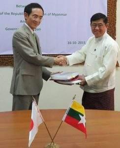 Left: Mr. Keiichiro NAKAZAWA, Chief Representative, JICA Myanmar Office, Right: U Maung Maung Win, Director General, Treasury Department, Ministry of Finance. Photo JICA