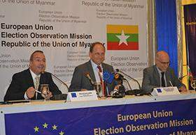 Alexander Graf Lambsdorff, chief observer of the EU's election observation mission speaks at a press conference marking the conclusion of his five-day visit to Myanmar in Yangon yesterday.