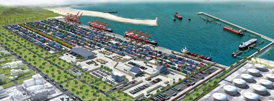 An artist's impression of the Kyauk Phyu deep sea port project that will unlock the potential of the hinterland and fulfill the country's potential as a trade corridor for Africa, the Middle East and China.