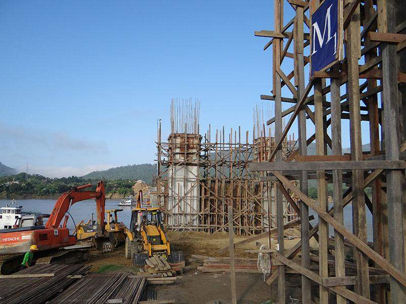 A new bridge is under construction in a new town for the people worstly affected by landslides in Haka.  Photo: MNA