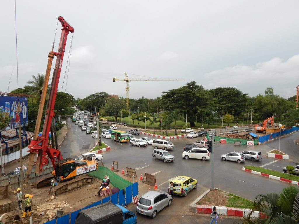 An overpass under construction at Kokkine Junction in Bahan Township. Photo: Tin Hla Maung