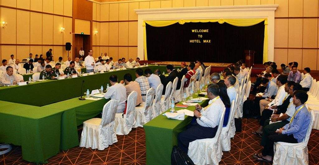 Vice President Dr Sai Mauk Kham makes speech at Joint Implementation Coordination Meeting