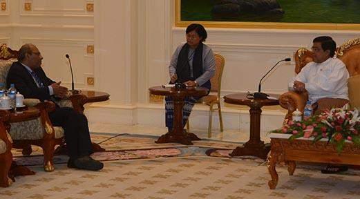 Vice President U Nyan Tun receives India's ambassador to Myanmar H.E. Gautam Mukhopadhaya.