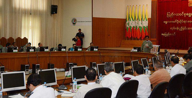Union Election Commission Chairman U Tin Aye addresses the meeting with representatives from seven political parties.—Myanmar News Agency