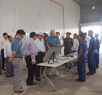 President U Thein Sein inspects factory in Thilawa Special Economic Zone near Yangon.
