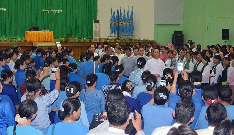 Vice President Dr Sai Mauk Kham greets faculty members from Magway.