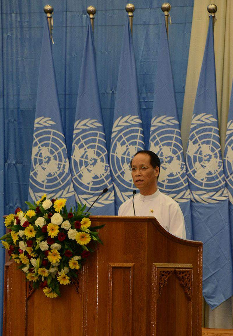 Vice President Dr Sai Mauk Kham delivers speech at the 70th United Nations Day.