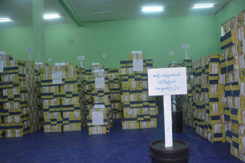 Ballot papers systematically stored in storage facility of Printing and Publishing Enterprise (Nay Pyi Taw). Photo : Kyaw Thu Win