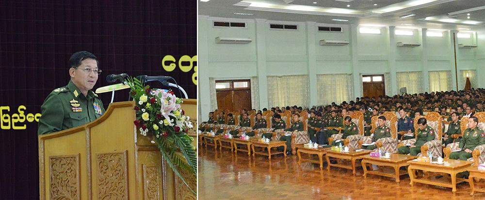 Commander-in-Chief Senior General Min Aung Hlaing delivers address at the National Defence College. Photo: Myawady