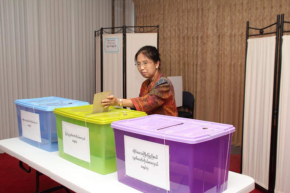A woman cast advance vote at Myanmar embassy in Canberra, Australia. Photo: Ministry of Foreign Affairs.