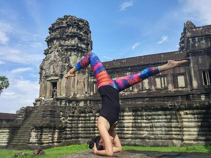 Jojo Yang at a recent retreat at Angkor Wat in Cambodia. Photo: Supplied by Yangon Yoga House