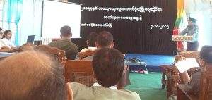Authorities discuss security measures for the November-8 election in Kyaukme Township. Photo: U Myint Aung