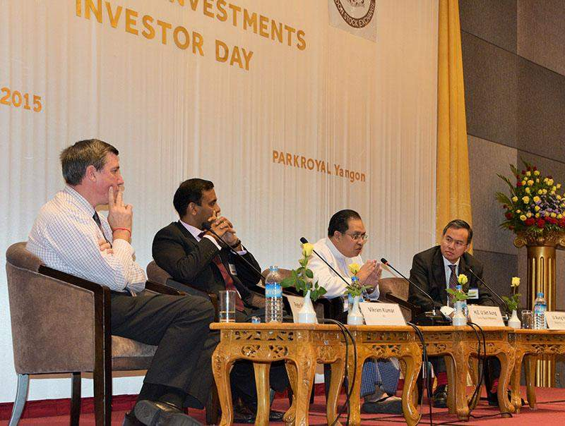 Keynote speakers address the audience during the investment conference held in Yangon this week.  Photo: Myanmar Investments International Limited