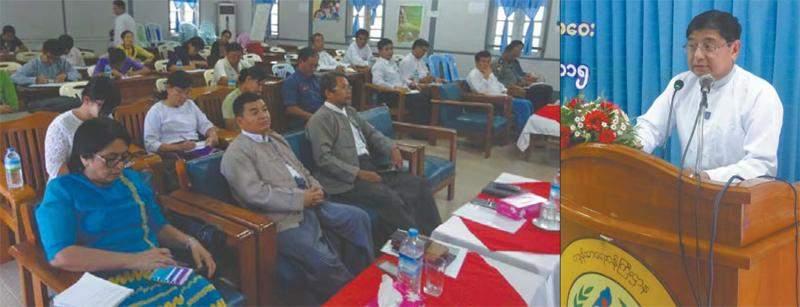 Deputy Director-General Dr Sein Thaung makes speech at food security coordination meeting in Mandalay. Photo: Thiha Ko Ko