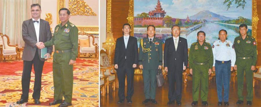 Senior General Min Aung Hlaing greets French Ambassador to Myanmar Mr. Oliver Richard (left photo) and Mr. Le Beak-Soon, ambassador of  Republic of Korea to Myanmar, and party (right photo). Photo: Myawady