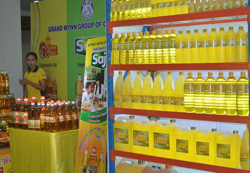 Locally-produced peanut oil on display at the Republic of the Union of Myanmar Federation of Chambers of Commerce and Industry in Yangon.