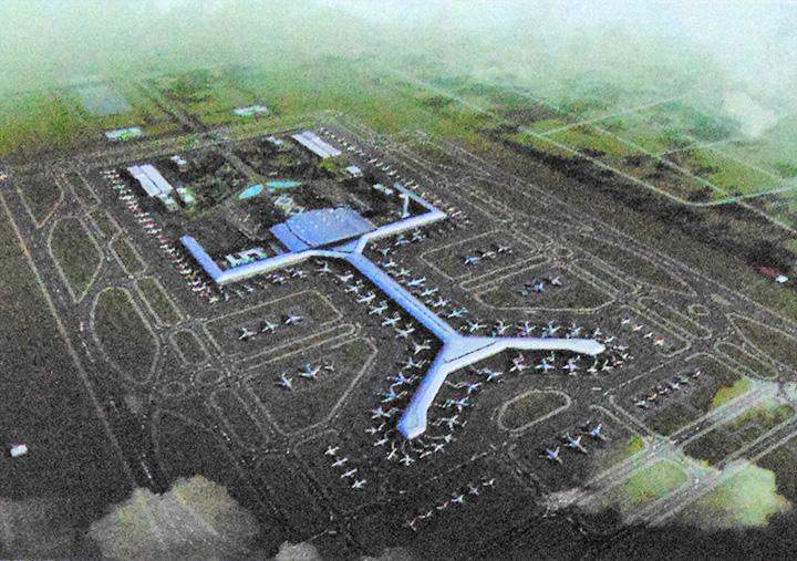 A scale model of Hanthawady International Airport project.