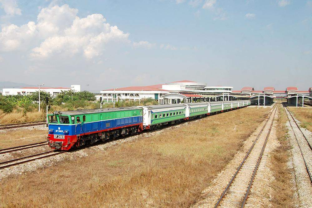 A modern train is seen at Mandalay Station when it was on test run. Photo: Myanma Railways